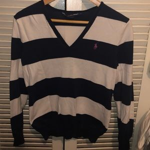 Rare Ralph Lauren Sport Blue and White Sweater
